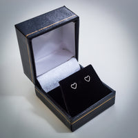 Sterling Silver Outlined Heart Stud Earrings