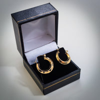 9k Gold Hollow Faceted Creole Hoop Earrings