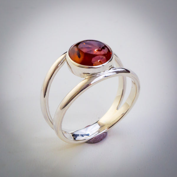 Split Double Sterling Silver Band with Amber Ring