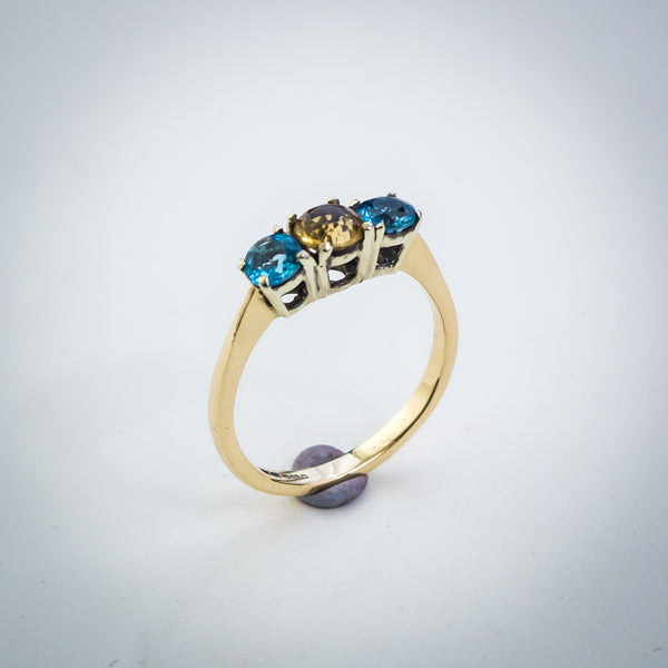 9k Gold Trilogy Ring with Swiss Topaz and Citrine