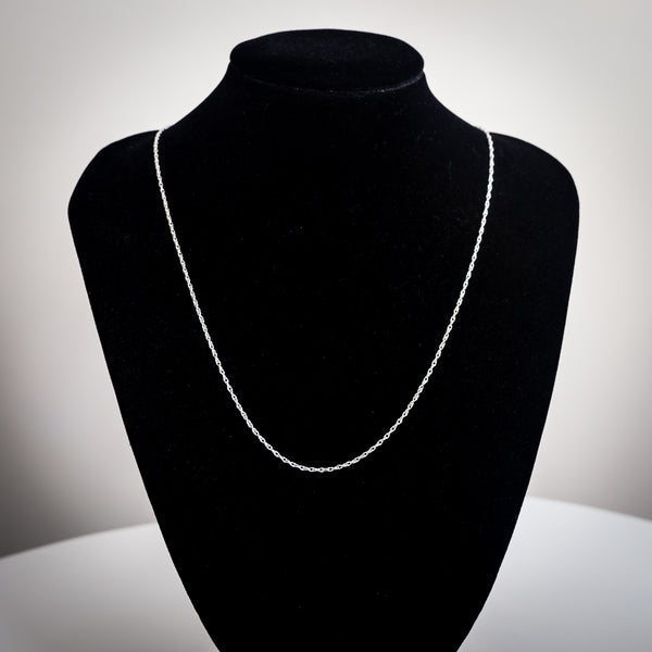 "Sterling Silver Rope Chain Necklace - 40cm (16"") Long x 1mm Wide"
