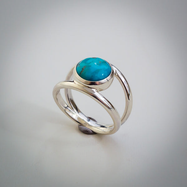Split Double Sterling Silver Band with Turquoise Ring