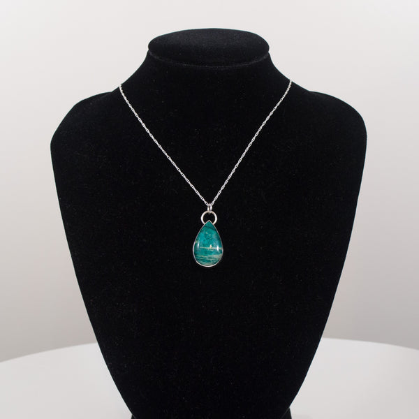 Sterling Silver and Amazonite Pendant Necklace