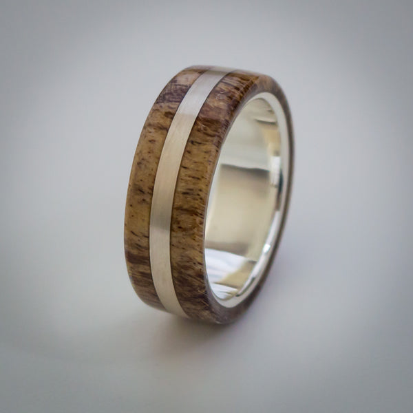 Spalted Maple Wood Ring with Sterling Silver Core & Inlay