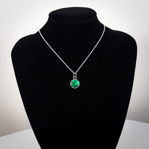 Sterling Silver and Green Paua Shell Pendant Necklace - AKA Abalone - Simplicity