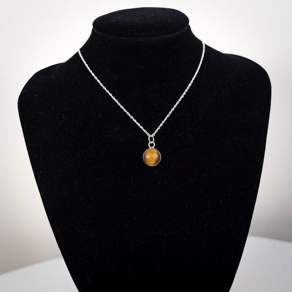 Sterling Silver and Tiger's Eye Pendant Necklace - Simplicity
