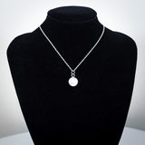 Sterling Silver and Mother of Pearl Pendant Necklace - Nacre Gemstone - Simplicity