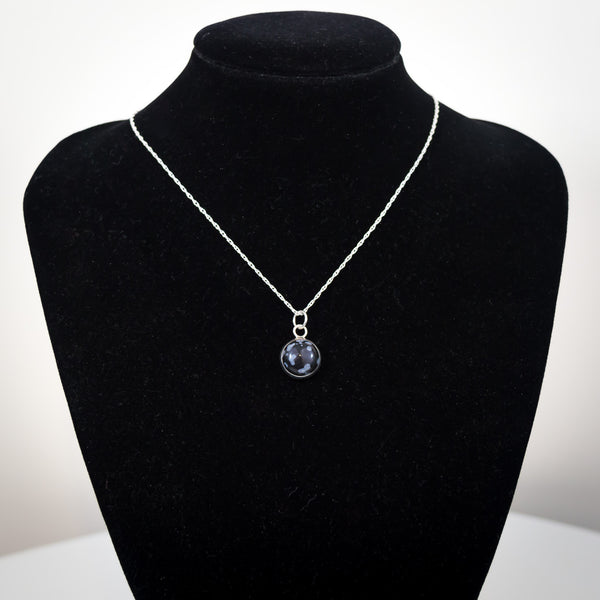 Sterling Silver and Snowflake Obsidian Pendant Necklace - Simplicity