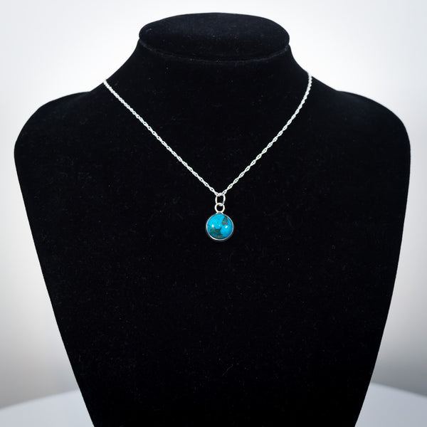 Sterling Silver and Turquoise Pendant Necklace - Simplicity