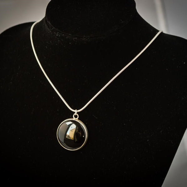 Sterling Silver and Large Onyx Pendant Necklace