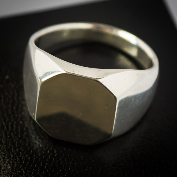 "Sterling Silver Signet Ring with Octagonal Face. Euclidean Collection - ""Eight"""