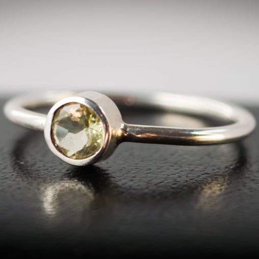 Sterling Silver and Lemon Quartz Stacking Ring