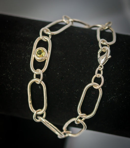 Sterling Silver Chain Bracelet with Lemon Quartz Gemstone