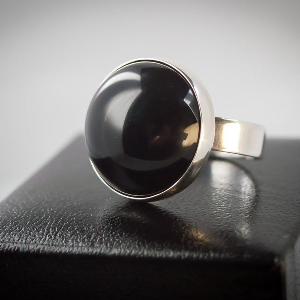 Sterling Silver and Large Black Onyx Ring