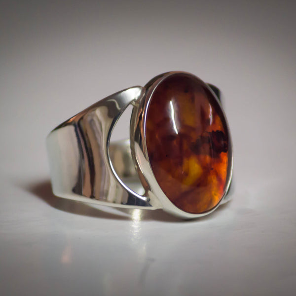 Sterling Silver and Large Oval Amber Ring