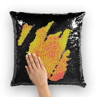 ripple - yellow Sequin Cushion Cover