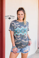Camo Vera Camo and Turquoise Aztec Top - Cypress Hollow Trading Company