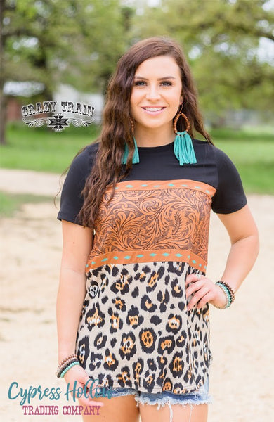 Buckstitch Babe Black, Tooled Leather, and Leopard Print Top - Cypress Hollow Trading Company