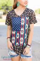 Let Freedom Ring Leopard and Serape Flag Top - Cypress Hollow Trading Company