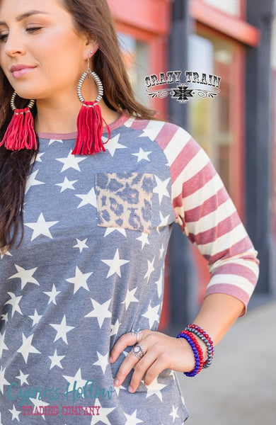 Reagan Raglan Stars, Stripes, and Leopard Top - Cypress Hollow Trading Company