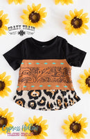 Buckstitch Babe Black, Tooled Leather, and Leopard Print Top - KIDS - Cypress Hollow Trading Company