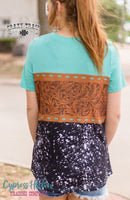 Turquoise and Cowhide Tooled Leather Top - Cypress Hollow Trading Company