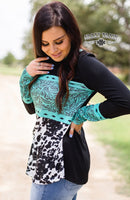 Turquoise Tooled Leather Long Sleeved Top - Cypress Hollow Trading Company