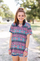 Wannabe Wild Leopard Print and Aztec Top - Cypress Hollow Trading Company
