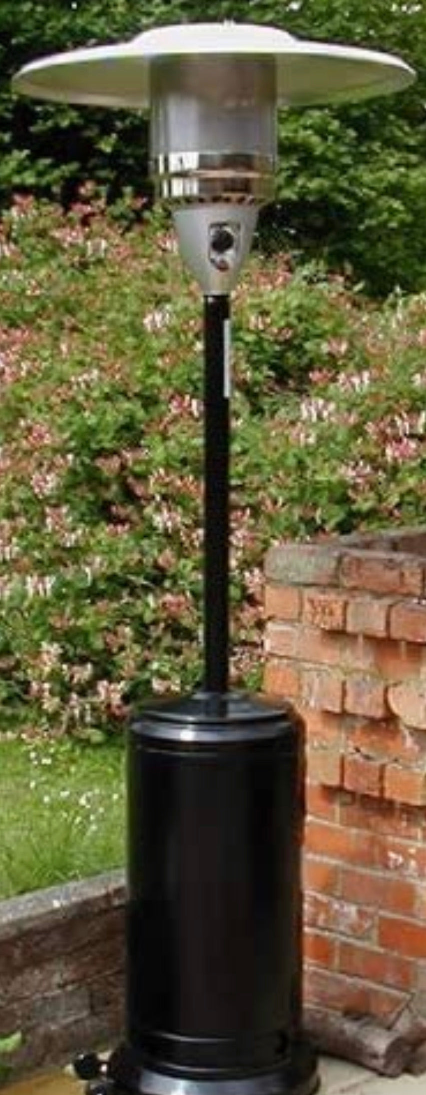 Gas Patio Heater - FREE Regulator & Hose, Wheel kit - Cover and ground anchors* - Black powder coated finish*