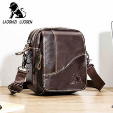 Load image into Gallery viewer, Genuine Leather mini men's Messenger Bag vintage Man Shoulder bags Flap Small Crossbody bags for male natural Leather bag