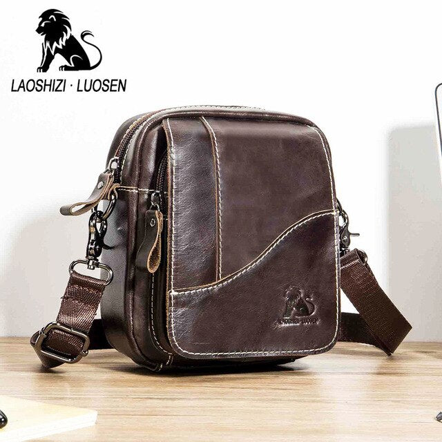 Genuine Leather mini men's Messenger Bag vintage Man Shoulder bags Flap Small Crossbody bags for male natural Leather bag