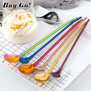 2PCS Colorful Reusable Drinking Straws Spoon Stainless Steel Metal Straws Cocktail Stirring Spoon Bar Milk Coffee Stirring Tools