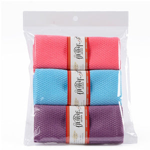 3PCS 30 x 40cm Soft Microfiber Cleaning Towel Kitchen Absorbable Glass Window Cleaning Cloth Car Dish Towel Dust Clean Pack New