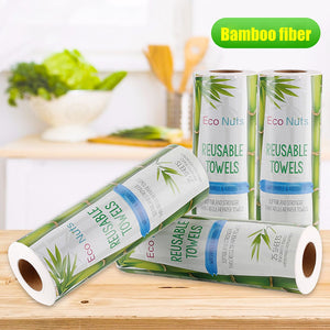 25Pcs Re-Usable Bamboo Towels Bamboo Kitchen Dish Cloth Paper Towel Roll Organic Washable Dish Cloths Clean Washing Towel