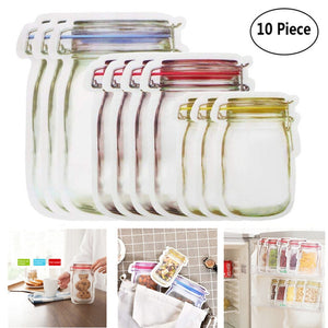5/10pcs Reusable Mason Jar Bottles Bags Nuts Candy Cookies Bag Fresh Food Storage Bag Snacks Zipper Sealed Kitchen Organizer