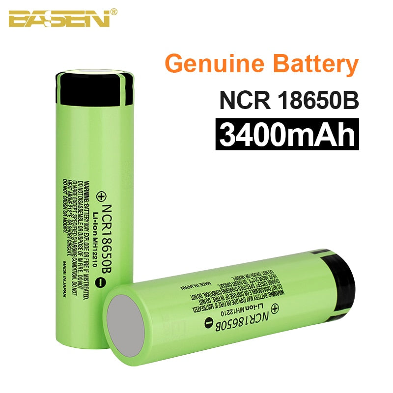 Basen New 100% Original 18650 battery NCR18650B 3.7v 3400mah Lithium Rechargeable Battery For Flashlight batteries (NO PCB)
