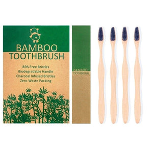 ExiuBro Vegan Free Bamboo Toothbrush Natural Toothbrush Pack of 4 Eco Friendly Toothbrushes with Soft BPA Free Bristle