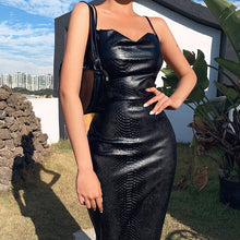 Load image into Gallery viewer, WannaThis Black Pu Leather Knee-Length Bodycon Dresse Women Spaghetti Slim Party Elegant Lady Backless Summer Dress Sexy Clothes