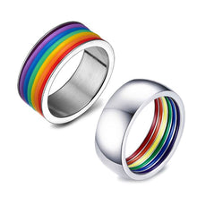 Load image into Gallery viewer, Titanium Enamel Rainbow Love Pride Ring Lesbian & Gay Wedding Engagement Band  Ring Jewerly