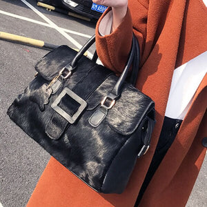 Women Natural Horsehair Handbag Genuine Leather Boston Satchel Bag Crossbody Bag 2019 Female Luxury Designer Top-Handle Bags