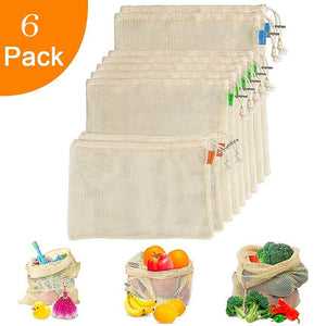 Reusable Produce Bags For Grocery Shopping Organic Cotton Mesh Vegetable Fruits Bags Machine Washable Lightweight Foladable Bag