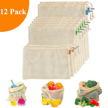 Load image into Gallery viewer, Reusable Produce Bags For Grocery Shopping Organic Cotton Mesh Vegetable Fruits Bags Machine Washable Lightweight Foladable Bag