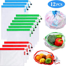 Load image into Gallery viewer, 12Pack Reusable Mesh Produce Bags Washable Eco Friendly Lightweight Bags For Grocery Shopping Storage Fruit Vegetable Net Bag