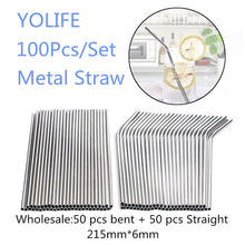 Load image into Gallery viewer, Eco Friendly Straws 100Pcs/Set Metal Straw Reusable Wholesale Stainless Steel Drinking Tubes 215mm*6mm Straight Bent Straws