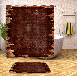 wooden 3D Shower Curtains Waterproof fabric shower curtains with hooks bathroom curtain funny bath curtain or mat