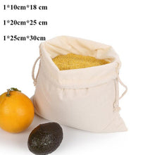 Load image into Gallery viewer, Reusable Shopping Bags 100% Cotton Vegetable Fruits Storage Bags 12 PCS Mesh Grocery Shopping Product Bag Women Washable  Bags
