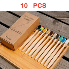 Load image into Gallery viewer, 50 Pcs New Mixed Color Bamboo Toothbrush Eco Friendly Wooden Tooth Brush Soft Bristle Tip Charcoal Adults Oral Care Toothbrush