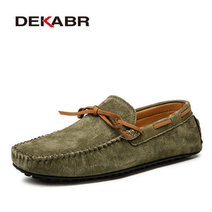 DEKABR Casual Men Genuine Leather Shoes Summer Breathable Green Men's Loafers Leather Shoes Sapato Masculino Zapatos Hombre