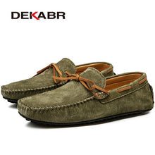 Load image into Gallery viewer, DEKABR Casual Men Genuine Leather Shoes Summer Breathable Green Men's Loafers Leather Shoes Sapato Masculino Zapatos Hombre