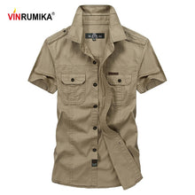 Load image into Gallery viewer, VINRUMIKA Big Size M-5XL 2020 Summer men's casual brand short sleeve shirt man 100% pure cotton khaki shirts army green clothing